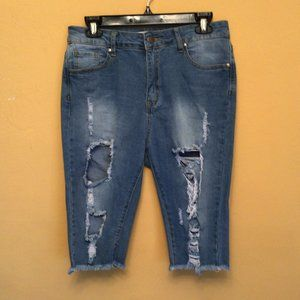 Between Us Distressed Ripped Jean Shorts